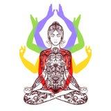 Yoga meditating in lotus asana icon stock illustration