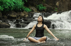 Yoga or meditation. Portrait of young woman meditation in nature Royalty Free Stock Photo