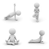 Yoga and meditation. 3d man doing yoga exercise on white background Stock Photography