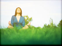 Yoga meditation, andlighet Royaltyfri Foto