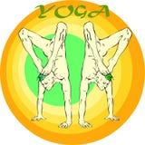 Yoga Meditation: Asana. Hand drawn illustration about the handsome yogi playing asanas positions Stock Image