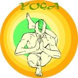 Yoga Meditation: Asana. Hand drawn illustration about the handsome yogi playing asanas positions Stock Photos