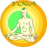Yoga Meditation: Asana. Hand drawn illustration about the handsome yogi playing asanas positions Royalty Free Stock Images