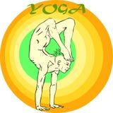 Yoga Meditation: Asana. Hand drawn illustration about the handsome yogi playing asanas positions Royalty Free Stock Photography