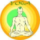 Yoga Meditation: Asana. Hand drawn illustration about the handsome yogi playing asanas positions Stock Photo