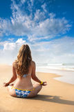 Yoga meditation on the beach Stock Photos