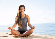 Yoga Meditation by the Beach Stock Photos