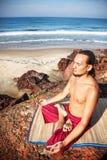 Yoga meditation on the cliff Royalty Free Stock Photo