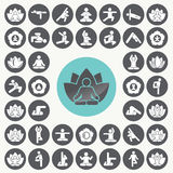 Yoga meditation exercise stretching people icons set. Stock Photo