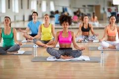 Yoga meditation group. At fitness center Stock Image