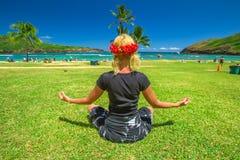 Yoga meditation in Hawaii Royalty Free Stock Image