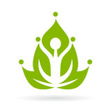 Yoga meditation icon. Green yoga meditation vector icon Stock Photo