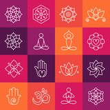 Yoga and Meditation Icons. Collection of yoga icons, relaxation and meditation symbols Royalty Free Stock Photos