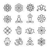 Yoga and Meditation Icons 02. Collection of yoga icons, relaxation and meditation symbols Stock Photo
