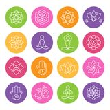 Yoga and Meditation Icons. Collection of yoga icons, relaxation and meditation symbols Stock Image