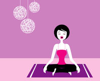 Yoga-Meditation, Illustration. A lady is doing her meditation on a purple towel vector illustration