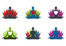 Yoga meditation logo. Set Illustration art of a yoga zen logo with isolated background Stock Photos