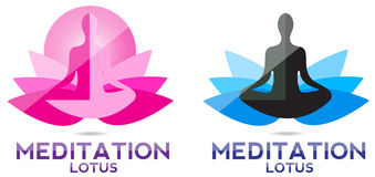 Yoga meditation lotus logo Stock Photography