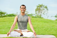 Yoga meditation in lotus pose Royalty Free Stock Photography