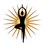 Yoga meditation pose logo. Yoga meditation pose and gold sun graphic illustration vector Royalty Free Stock Photo