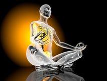 Yoga Meditation pose. The padmasana - Lotus seat - pose. 3D Illustration Stock Photos