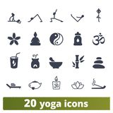 Yoga And Meditation Practices Icons Collection royalty free illustration