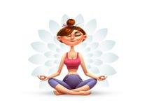 woman in yoga asana cartoon illustration royalty free