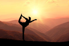 Yoga meditation silhouette pose Stock Images