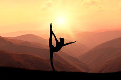 Yoga meditation silhouette pose Stock Photography