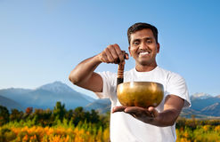 Yoga meditation with Tibetan bowl royalty free stock photography