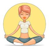 Yoga meditation cute female girl tranquility master wisdom health cartoon character icon design vector illustration. Yoga meditation tranquility cute female girl Stock Images