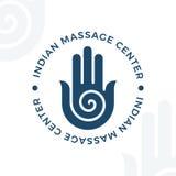 Yoga, meditation vector logo illustration. Decorative hamsa hand  element.  Stock Images