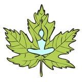 Yoga Meditation. Woman doing yoga on leaf background Royalty Free Stock Images