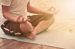 Yoga and meditation. In the summer park Royalty Free Stock Image