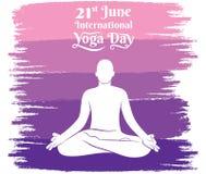 International yoga day poster design. Yoga men practice lotus pose, International yoga day celebrate 21 june concept design Stock Images