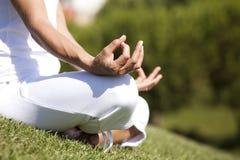 Yoga met de aard Royalty-vrije Stock Afbeeldingen