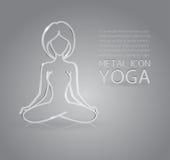 Yoga metal icon Stock Photography