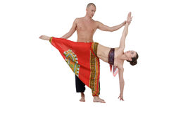 Yoga. Middle-aged man and woman training Stock Photo