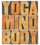 Yoga, mind, body word abstract. Isolated text in letterpress wood type printing blocks royalty free stock photo
