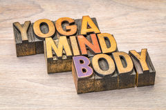 Yoga, mind, body word abstract. In letterpress wood type printing blocks stock photography