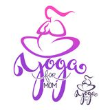 Yoga for Mom, vector logo template with lettering composition an Stock Photo