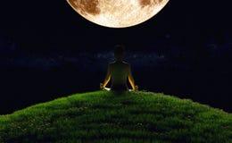 Yoga Moonrise Stockbild