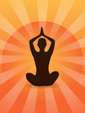 Yoga in the morning sunlight. Silhouette of a woman performing yoga in the rising sun vector illustration