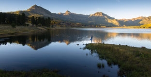 Yoga Mountain lake sunset reflect Royalty Free Stock Photos