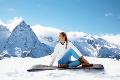 Yoga on mountain in winter Royalty Free Stock Images