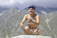 Yoga-mountaineering Royalty Free Stock Photo