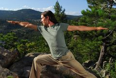 Yoga in the mountains Stock Photography