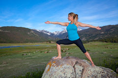 Yoga in the mountains Stock Image