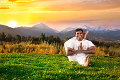 Yoga in mountains Stock Photos