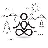 Yoga at mountains and trees. Simle minimalistic design Royalty Free Stock Photo